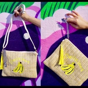 Banana Print Straw Clutch/Crossbody